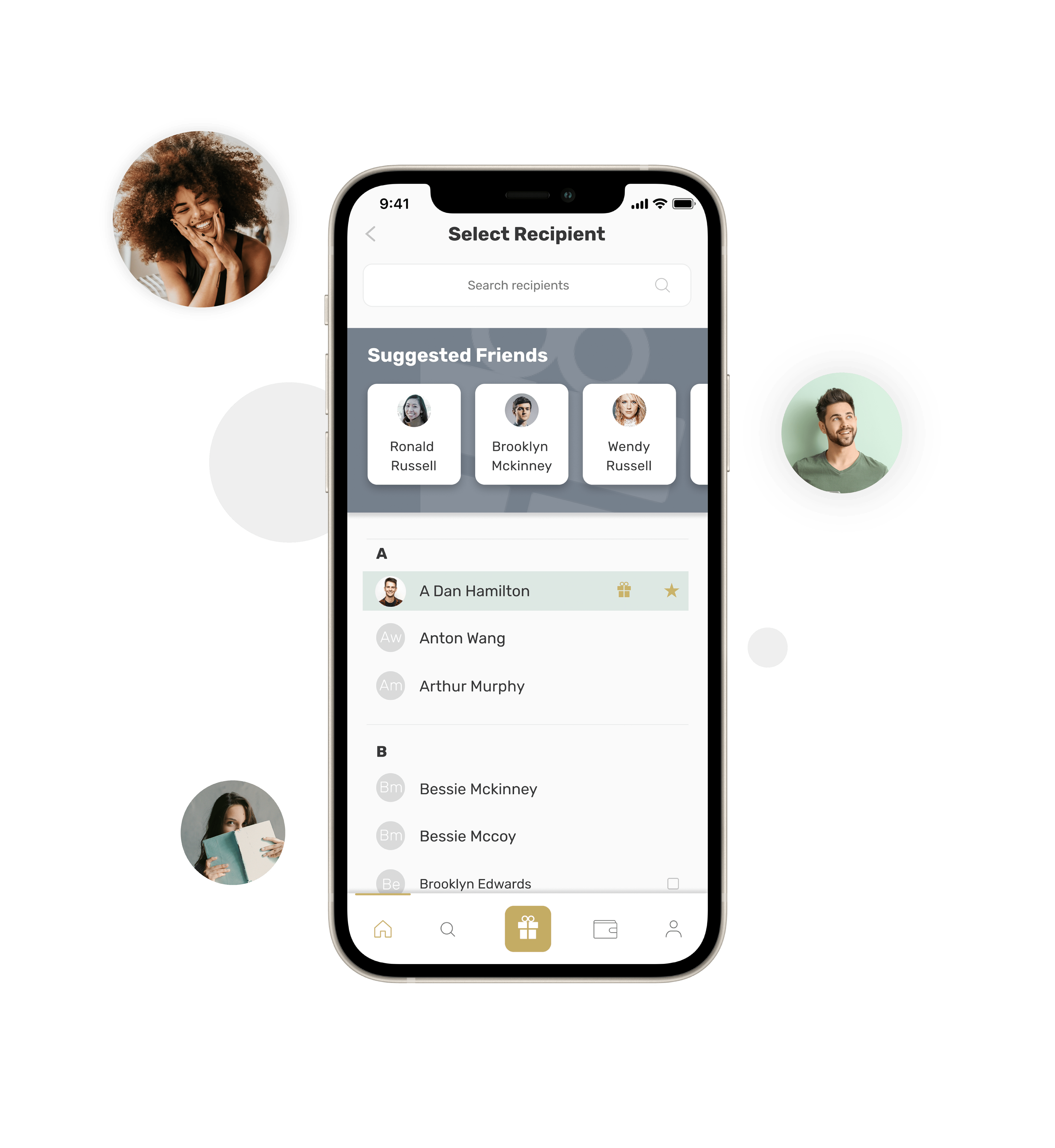Select recipient Prsnt app with users faces